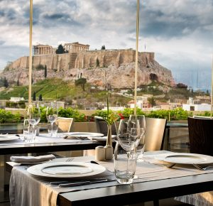 View from the Athens Gate Hotel RoofTop Restaurant. Enjoy the Acropolis of Athens while dining.