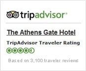 The Athens Gate Hotel trip advisor rating based on more than 3100 traveller reviews.