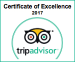 The Athens Gate Hotel trip advisor Certificate of Excellence 2017 badge.