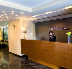 The Athens Gate Hotel 4 star hotel in Athens reception area. Get welcomed by our friendly staff.