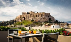 Voted as the 4th best view from a rooftop bar the Athens Gate Hotel offers panoramic views of Athens